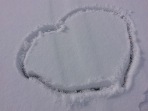 Valentine heart in snow